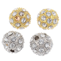 Strass Zinklegierung Perlen, rund, plattiert, mit Strass, keine, frei von Blei & Kadmium, 10mm, Bohrung:ca. 2mm, verkauft von PC