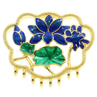 Cloisonné Schmuckverbinder, Blume, handgemacht, 1/8-Schleife, frei von Blei & Kadmium, 33x29x8mm, Bohrung:ca. 7x4mm, 2mm, verkauft von PC