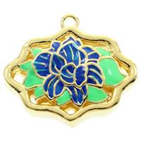 Cloisonné Stiftöse Perlen, Blume, handgemacht, hohl, frei von Blei & Kadmium, 24x22x9mm, Bohrung:ca. 2mm, verkauft von PC