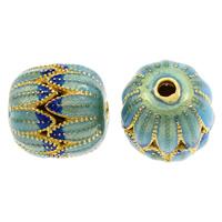 Cloisonné Perle, Kürbis, handgemacht, hohl, frei von Blei & Kadmium, 14mm, Bohrung:ca. 1mm, verkauft von PC