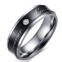 Edelstahl Herren-Fingerring, 316 L Edelstahl, Wort für immer Liebe, plattiert, verschiedene Größen vorhanden & mit kubischem Zirkonia, 6mm, 3PCs/Menge, verkauft von Menge