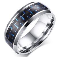 Edelstahl Herren-Fingerring, mit Faser, plattiert, verschiedene Größen vorhanden & für den Menschen, 8mm, 3PCs/Menge, verkauft von Menge