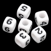 Anzahl Acrylkorn, Acryl, Würfel, gemischtes Muster & Volltonfarbe, weiß, 7mm, Bohrung:ca. 3mm, ca. 1950PCs/Tasche, verkauft von Tasche
