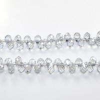 Tropfen Kristallperlen, Kristall, mit Glas-Rocailles, facettierte, Kristall, 5x8mm, Bohrung:ca. 0.5mm, Länge:ca. 15 ZollInch, 10SträngeStrang/Menge, ca. 100PCs/Strang, verkauft von Menge