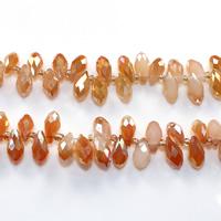 Tropfen Kristallperlen, Kristall, mit Glas-Rocailles, halb plattiert, facettierte, Feuer Opal, 6x12mm, Bohrung:ca. 0.5mm, Länge:ca. 15 ZollInch, 10SträngeStrang/Menge, ca. 100PCs/Strang, verkauft von Menge