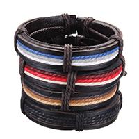 Rindsleder Armband, Kuhhaut, mit Nylonschnur, einstellbar, keine, 15mm, verkauft per ca. 8 ZollInch Strang