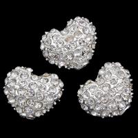 Strass Zinklegierung Perlen, Herz, silberfarben plattiert, mit Strass, frei von Blei & Kadmium, 12x10x7mm, Bohrung:ca. 2mm, verkauft von PC