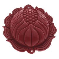 Cinnabaris Schmuckverbinder, Lotus, 1/1-Schleife, rot, 51x53x13mm, Bohrung:ca. 1mm, 10PCs/Tasche, verkauft von Tasche