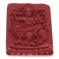 Zinnober Anhänger, Cinnabaris, Rechteck, rot, 37x45x7mm, Bohrung:ca. 1mm, 10PCs/Tasche, verkauft von Tasche