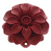 Cinnabaris Schmuckverbinder, Blume, 1/1-Schleife, rot, 48x49x15mm, Bohrung:ca. 1.5mm, 10PCs/Tasche, verkauft von Tasche