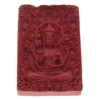 Zinnober Anhänger, Cinnabaris, Rechteck, buddhistischer Schmuck, rot, 36x55x9mm, Bohrung:ca. 1mm, 10PCs/Tasche, verkauft von Tasche