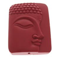 Cinnabaris Schmuckverbinder, Rechteck, 1/1-Schleife, rot, 36x46x11mm, Bohrung:ca. 1.5mm, 10PCs/Tasche, verkauft von Tasche