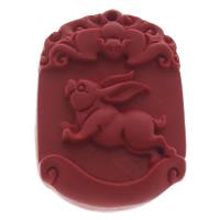 Zinnober Anhänger, Cinnabaris, rot, 28x39x8mm, Bohrung:ca. 1mm, 10PCs/Tasche, verkauft von Tasche