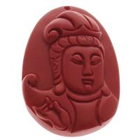 Zinnober Anhänger, Cinnabaris, flachoval, buddhistischer Schmuck, rot, 38x48x10mm, Bohrung:ca. 1mm, 10PCs/Tasche, verkauft von Tasche