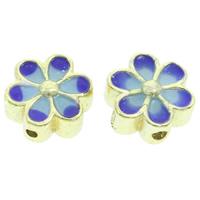 Cloisonne Perlen, Cloisonné, Blume, handgemacht, frei von Blei & Kadmium, 11x5mm, Bohrung:ca. 1mm, verkauft von PC