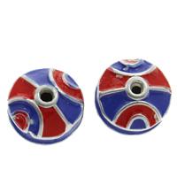 Cloisonne Perlen, Cloisonné, flache Runde, handgemacht, frei von Blei & Kadmium, 10x8mm, Bohrung:ca. 1mm, verkauft von PC