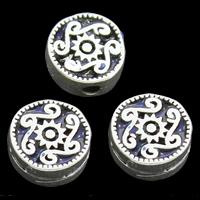 Sterling Silber Cloisonne Perle, flache Runde, handgemacht, 10x5mm, Bohrung:ca. 1mm, verkauft von PC