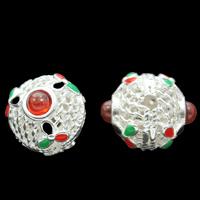 Cloisonne Perlen, Cloisonné, mit Roter Achat, rund, handgemacht, natürliche & hohl, frei von Blei & Kadmium, 10x12mm, Bohrung:ca. 1mm, verkauft von PC