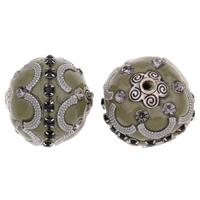 Indonesien Perlen, Zinklegierung, mit Indonesien, Trommel, antik silberfarben plattiert, mit Strass, frei von Blei & Kadmium, 20x22mm, Bohrung:ca. 2mm, verkauft von PC