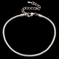 Europa Armband Kette, Messing, mit Verlängerungskettchen von 5cm, silberfarben plattiert, unterschiedliche Länge der Wahl & Schlangekette, frei von Blei & Kadmium, 3mm, verkauft von Strang