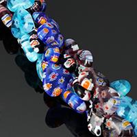 Murano Millefiori Lampwork Perle, Herz, handgemacht, keine, 10x10x4mm, Bohrung:ca. 0.5mm, Länge:ca. 15.5 ZollInch, 10SträngeStrang/Menge, ca. 44PCs/Strang, verkauft von Menge