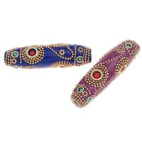 Indonesien Perlen, mit Zinklegierung, goldfarben plattiert, mit Strass & großes Loch, keine, 64x17mm, Bohrung:ca. 5mm, verkauft von PC