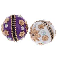 Indonesien Perlen, mit Zinklegierung, rund, goldfarben plattiert, mit Strass, keine, 24mm, Bohrung:ca. 1mm, verkauft von PC