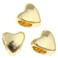 Zink Legierung Europa Perlen, Zinklegierung, Herz, goldfarben plattiert, ohne troll, frei von Blei & Kadmium, 8x8x6mm, Bohrung:ca. 4mm, verkauft von PC
