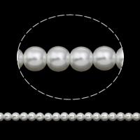 Perlmuttartige Glasperlen, rund, verschiedene Größen vorhanden, weiß, Bohrung:ca. 1mm, Länge:ca. 31.4 ZollInch, verkauft von Tasche