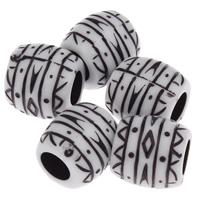 European Acrylperlen, Acryl, Trommel, antik imitieren, weiß, 10x10mm, Bohrung:ca. 4mm, ca. 680PCs/Tasche, verkauft von Tasche