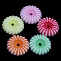 Chemische Wash Acryl Perlen, Blume, chemische-Waschanlagen, gemischte Farben, 10x3mm, Bohrung:ca. 1mm, ca. 2500PCs/Tasche, verkauft von Tasche