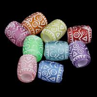 Matt Acryl Perlen, Zylinder, satiniert, gemischte Farben, 8x9mm, Bohrung:ca. 3mm, ca. 1500PCs/Tasche, verkauft von Tasche