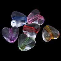 Transparente Acryl-Perlen, Acryl, Herz, gemischte Farben, 11x10x7mm, Bohrung:ca. 1mm, ca. 1200PCs/Tasche, verkauft von Tasche