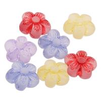 Matt Acryl Perlen, Blume, satiniert & transluzent, gemischte Farben, 10x10x6mm, Bohrung:ca. 1mm, ca. 1500PCs/Tasche, verkauft von Tasche