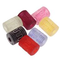 Matt Acryl Perlen, Zylinder, satiniert & transluzent, gemischte Farben, 10x13mm, Bohrung:ca. 3mm, ca. 480PCs/Tasche, verkauft von Tasche