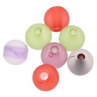 Matt Acryl Perlen, rund, satiniert & transluzent, gemischte Farben, 6mm, Bohrung:ca. 1mm, ca. 4100PCs/Tasche, verkauft von Tasche