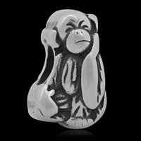 Edelstahl European Perlen, 316 L Edelstahl, Affe, ohne troll & Schwärzen, 8x13mm, Bohrung:ca. 4mm, 10PCs/Tasche, verkauft von Tasche
