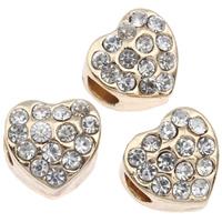 Zink Legierung Europa Perlen, Zinklegierung, Herz, goldfarben plattiert, ohne troll & mit Strass, frei von Blei & Kadmium, 11x10mm, Bohrung:ca. 4mm, verkauft von PC