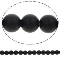 Runde Kristallperlen, Kristall, synthetisch, verschiedene Größen vorhanden & satiniert, Jet schwarz, Bohrung:ca. 1mm, verkauft per ca. 15.5 ZollInch Strang