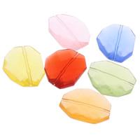 Transparente Acryl-Perlen, Acryl, facettierte, gemischte Farben, 22x27x7mm, Bohrung:ca. 1mm, ca. 200PCs/Tasche, verkauft von Tasche