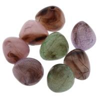 Eis-Flake-Acryl-Perlen, Acryl, Eis Flocke & transluzent, gemischte Farben, 15x13mm, Bohrung:ca. 1mm, ca. 35PCs/Tasche, verkauft von Tasche