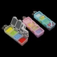 Volltonfarbe Glas Rocailles, Glas-Rocailles, mit Eisenkette & Kunststoff Kasten, Rechteck, keine, 98x35x24mm, verkauft von Box