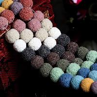 Natürliche Lava Perlen, rund, verschiedene Größen vorhanden, farbenfroh, Bohrung:ca. 1-3mm, verkauft per ca. 15.5 ZollInch Strang