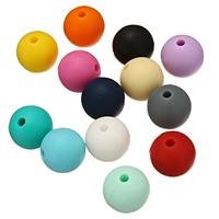 Silikon-Perlen, Silikon, rund, FDA-Zulassung, keine, frei von Nickel, Blei & Kadmium, 12mm, Bohrung:ca. 2mm, 100PCs/Tasche, verkauft von Tasche