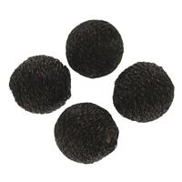 Gewebte Glasperlen, Nylon, mit Kunststoff, rund, handgemacht, schwarz, 18mm, Bohrung:ca. 2mm, 100PCs/Tasche, verkauft von Tasche