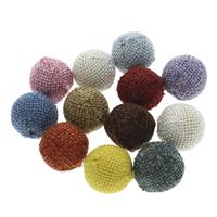 Gewebte Glasperlen, Leinen- Baumwolle, mit Holz, rund, handgemacht, großes Loch, gemischte Farben, 20x19mm, Bohrung:ca. 5mm, 100PCs/Tasche, verkauft von Tasche