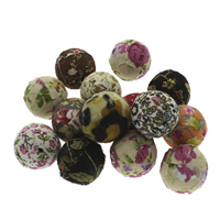 Gewebte Glasperlen, gemischte Materialien, mit Holz, rund, handgemacht, gemischte Farben, 24-25mm, Bohrung:ca. 3mm, 100PCs/Tasche, verkauft von Tasche