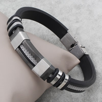 Herren-Armband & Bangle, Edelstahl, mit Silikon, plattiert, 12x39x7mm, verkauft per ca. 7.5 ZollInch Strang