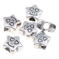 Verkupferter Kunststoff European Perlen, Stern, antik silberfarben plattiert, ohne troll, 13x7mm, Bohrung:ca. 4mm, 1000PCs/Tasche, verkauft von Tasche
