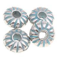 Verkupfertes Kunststoff-Perlen, Verkupferter Kunststoff, Blume, Bläu, 8x4mm, Bohrung:ca. 2mm, 1000PCs/Tasche, verkauft von Tasche